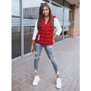 Neobyčajná červená dámska prešívaná vesta Estra vyobraziť