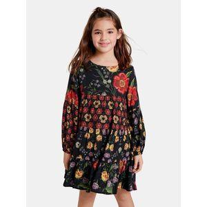 Čierne dievčenské kvetované šaty Desigual Alejandrita vyobraziť