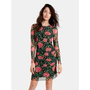 Ružovo-čierne kvetované púzdrové šaty Desigual Roiane vyobraziť