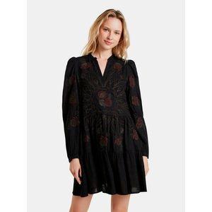 Čierne kvetované šaty Desigual Hortensia vyobraziť