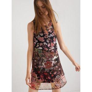 Vínovo-čierne kvetované šaty Desigual Dalia vyobraziť