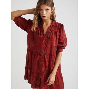 Červené vzorované košeľové šaty Desigual Sevilla vyobraziť