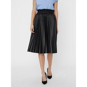 Čierna plisovaná koženková sukňa VERO MODA Nellie vyobraziť