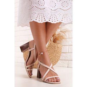 Svetloružové sandále na hrubom podpätku Brenda vyobraziť