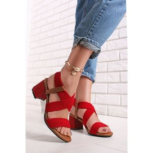 Červené sandále na hrubom podpätku 72928 vyobraziť