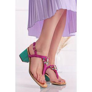 Fuchsiovo-tyrkysové sandále na hrubom podpätku Borriana vyobraziť