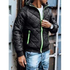 Pánska jesenná bunda s kapucňou čierna FUN vyobraziť