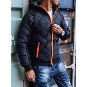 Pánska jesenná bunda s kapucňou tmavo modrá FUN vyobraziť