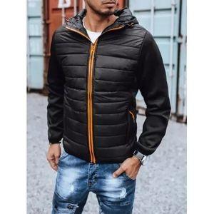 Pánska zimná bunda prešívaná s kapucňou čierna SPORT vyobraziť