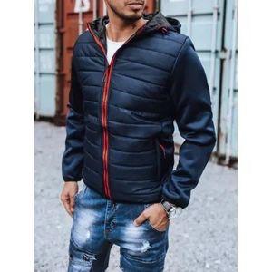 Pánska zimná bunda prešívaná s kapucňou modrá SPORT vyobraziť