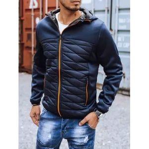 Pánska zimná bunda prešívaná s kapucňou modrá SPORT PRO vyobraziť