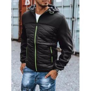 Pánska zimná bunda prešívaná s kapucňou čierna SPORT PRO vyobraziť
