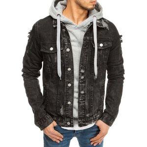 Čierna pánska rifľová bunda. vyobraziť