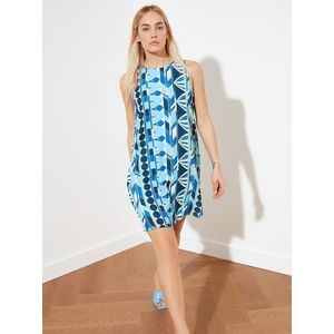 Modré vzorované šaty Trendyol vyobraziť