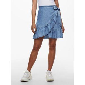 Modrá rifľová zavinovacia sukňa ONLY vyobraziť