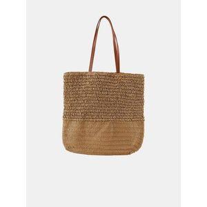 Béžový slamený shopper Pieces Linoaldo vyobraziť